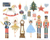 Watercolor Nutcracker Christmas Clip Art for personal and commercial use - Holiday Clipart Ballet Rocking Horse Sugar Plum Fairy Russian
