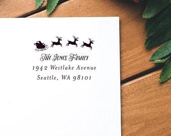 Holiday Address Stamp, Christmas Return Address Stamp, Santa Claus Stamp, Custom Holiday Address Stamp, Wood or Self-Inking - Style #40