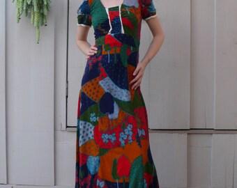 Vintage Psychedelic 1960's Folk Art Patchwork Print Babydoll Lace Trim Maxi Dress S/M