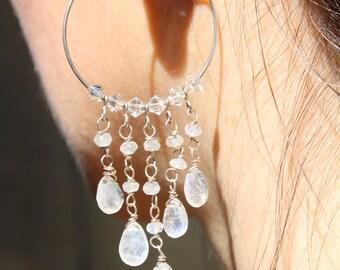 Chandelier Wedding Earrings- Bridal Earrings - Hoop Earrings - Gemstone Earrings - Fine Jewelry- Wedding Jewelry - Moonstone Earrings