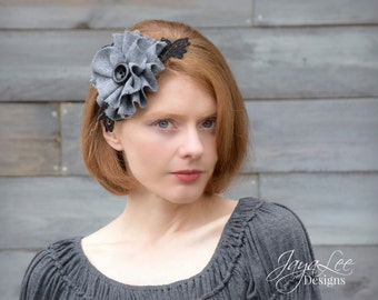 Winter Gray Headband Wool Flower Headpiece