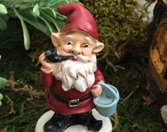 Mini Garden Gnome Smoking Pipe with Red Hat and Jacket, Fairy Garden Accessory, Garden Decor, Miniature Gardening