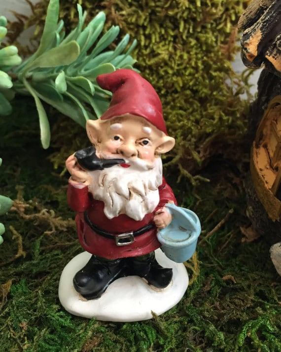 Mini Garden Gnome Smoking Pipe with Red Hat and Jacket, Fairy Garden Accessory, Garden Decor, Miniature Gardening