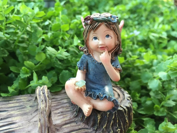 Sweet Flower Crown Fairy Figurine, Sitting Fairy, Blue Dress, Holding Gem, Pink Wings, Miniature Garden Decor, Topper