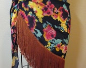 Navy floral chiffon fringed triangle Hip Scarf shawl Bellydance belly dance tribal fusion ATS cabaret