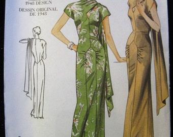 Vogue Vintage Model Pattern 2494, Original 1948 Design, Evening Dress with Drape, Sizes 12, 14 and 16, UC FF