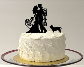 MADE In USA, Silhouette Wedding Cake Topper with Dog, Personalized Wedding Cake Topper, Bride + Groom + Dog, Silhouette Wedding Decoration,