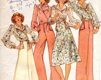 1970s Wrap Blouse & Wide Leg Sailor Pants - Vintage Pattern Butterick 4099 - Bust 32 by June Tise Sweet Baby Jane