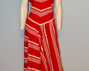 Vintage Red and White Chevron Striped Drop Waist Dress from 1960's