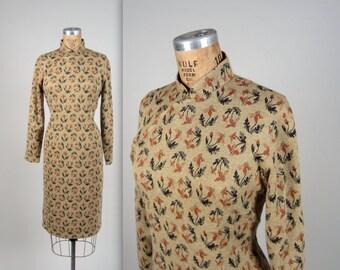1950s botanical cheongsam dress • vintage 50s dress • autumn wiggle dress