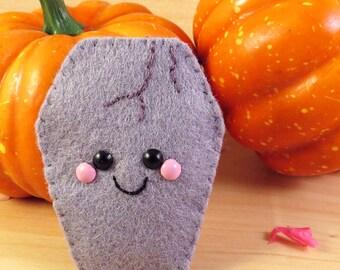 Ghoulish Gravestone Felt Brooch Hair Clip accessory happy halloween kitsch kawaii grey spooky cute