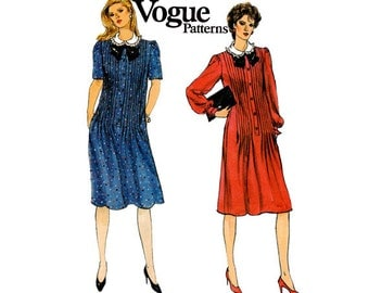 Vogue 8600 Pin Tucked 80s Dress Pattern Ruffled Collar tab front Size 12 Bust 34 inches UNCUT Factory Folded