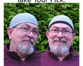 Mens Cotton Cooling Cap Crocheted in Light Gray + Optional Black Band