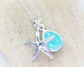 Beach Necklace, Starfish Necklace, Seafoam Blue Crystal Teardrop, Sterling Silver Starfish Charm Necklace, Ocean, Beach Wedding, Gift
