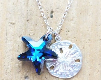 Swarovski Starfish Necklace, Sterling Silver Sand Dollar Charm Necklace, Bermuda Blue, Beach Necklace, Beach Jewelry, Ocean, Gift for Her