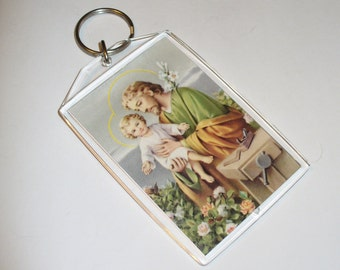 Catholic Gift Idea St Joseph, The Carpenter, Vintage Prayer Card Keychain, Saint Joseph