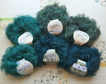 destash 4+ skeins eyelash novelty yarn lot, GGH Apart in teal and greenish blue, GGH Apart color in green heather