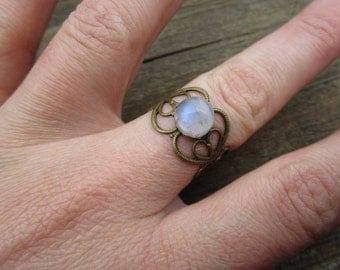 Rainbow Moonstone Ring Adjustable Brass Gypsy Ring