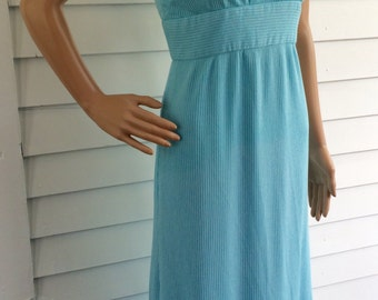 70s Blue Maxi Dress Sleeveless Long Vintage Retro XS