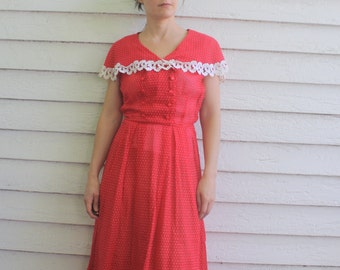50s Sheer Red Polka Dot Dress Swiss Dotted Vintage Nelly Don XS