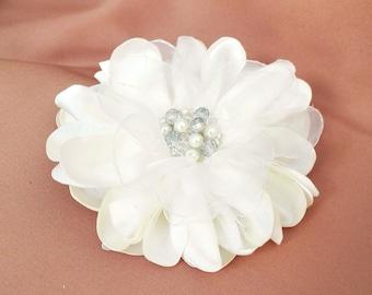 Bridal Ivory Hair Flower, Wedding Hair Clip, Satin Flower Hair Accessory