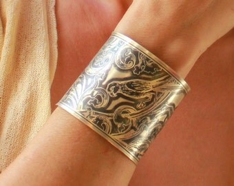 Parrots, Egrets and Acanthus Leaves Etched Sterling Silver Cuff Bracelet