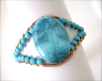 Turquoise Bracelet, Wire Wrapped, Copper Bangle, Blue Agate, Crazy Lace Agate, Chalk Turquoise, Bangle Bracelet, Spring, 951