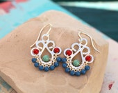 Succulent Earrings in Blue and Red