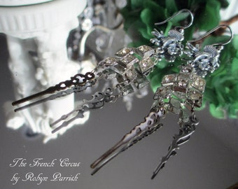 hands of time - art deco rhinestone earrings victorian style hands steampunk watch parts floral art nouveau