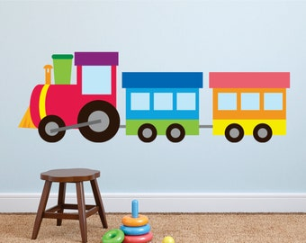 Train Wall Decal, Train Fabric Wall Decal, Reusable, Re positional Wall Decal, Kids wall decals