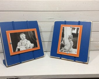 "Blue and Orange table top picture frame holds one 4""x 6"" photo. University of Florida Gators"