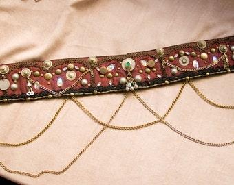 Crimson Tribal Fusion Bellydance BELT- Crimson, black, bronze and brown Tribal Bellydance Costume Belt