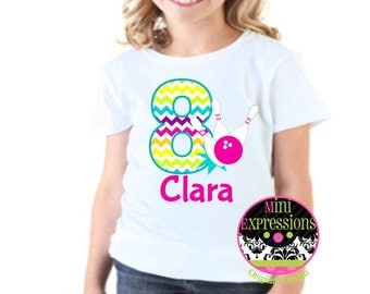 Chevron Bowling Birthday Shirt or Bodysuit Personalized With Any NAME and AGE