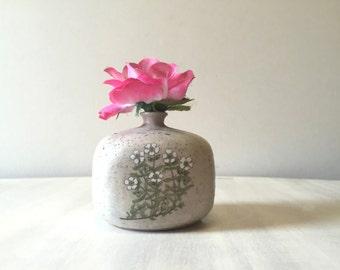 Vintage earthenware vase, vintage miniature vase, small pottery vase, vintage pottery, vintage stoneware vase, ceramic vase, tiny clay vase