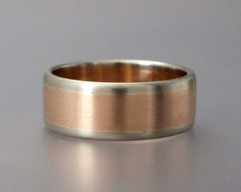 Men's Two Tone Gold Wedding Band - 8mm Wide Mixed Metals Wedding Band in 14k white, yellow or rose gold