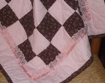 "Quilt Baby/Pink Brown/Lace Ribbon Trim/24x24 Inches/Hand Quilted/Stroller/Car Seat/Preemy/18""Doll/Made in Appalachia/"
