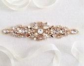 RESERVED- CUSTOM- Rose Gold Crystal Bridal Belt- SWAROVSKI Bridal Sash