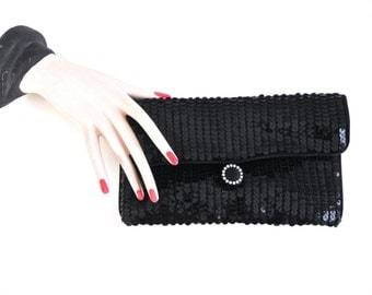 Vintage Black Sequin Clutch ,Evening Bag with Rhinestone Clasp