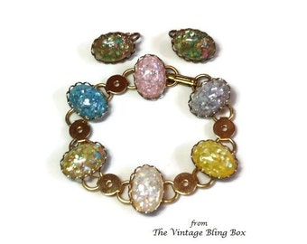 50s Confetti Stone Bracelet & Clip Earring in Colorful Cabochon Bead Gold Chain Link Design - Vintage 50's Demi Parure Costume Jewelry Sets