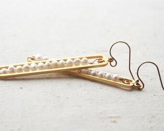 Pearl Earrings, Modern Pearl Earrings, Wedding Jewelry