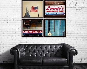 Nashville photos, set of 4 prints, downtown Nashville, city photography, Tennessee art, Nashville gifts, country music decor, blue wall art