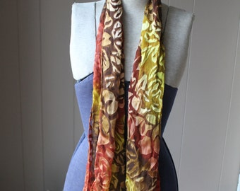 Silk Burnout Scarf Fall scarf Autumn colors Chartreuse Rust and Brown Vintage Scarf Hand Rolled Edges