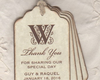 50 Personalized Monogram Thank You Wedding Gift Tags , Wedding Favor Tags, Bridal Shower Favor Tags or Labels - Vintage Inspired