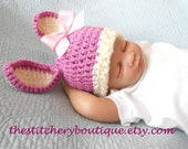 Bunny hat newborn girl photo prop hat easter crochet baby bunny ears tan pink coming home outfit clothes