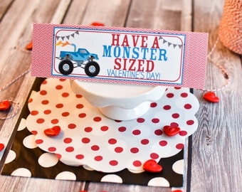 Valentine's Day Treat Bag Topper / Personalized Treat Bag Toppers / Monster Truck Treat / Truck Valentine Card Exchange / Monster Valentine