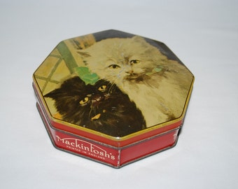 Vintage 1930's Mackintosh's Toffee Tin England - Cat Kittens Motif - Octagon Shape - Collectible Tins - English Candy Tin
