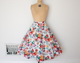 Vintage 1950s Skirt - 50s Floral Skirt - The Shirley