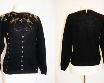1990's Black Sweater Gold Beading Embellished Sequins Medium Vintage REtro 90s Ugly Christmas Holiday Cotton Ramie
