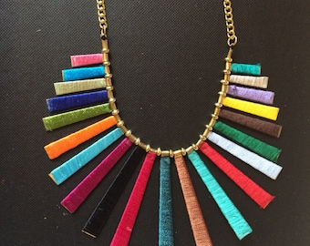 Multicolor Fringe Necklace,Tassel Necklace,Statement Jewelry,silk thread jewelry,Spring Necklace by Taneesi YN235M