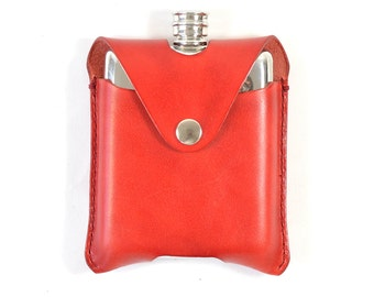 Handmade Pewter Red Vegetable Tanned Leather 5oz Hip Flask